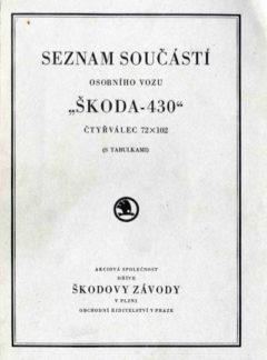 Seznam součástí osobního vozu Škoda 430 (originál)