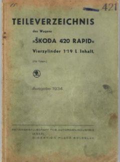 Teileverzeichnis des wagens Škoda 420 Rapid (originál)