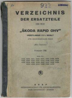 Verzeichnis der  ersatzteile des PKW Škoda Rapid OHV (originál)