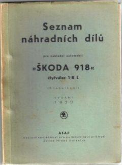 Seznam náhradních dílů pro nákladní automobil Škoda 918 (originál)