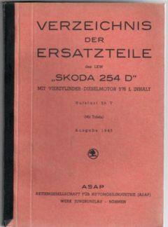 Verzeichnis der  ersatzteile des LKW Škoda 254 D (originál)
