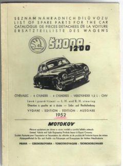 Seznam náhradních dílů vozu Škoda 1200 (originál)