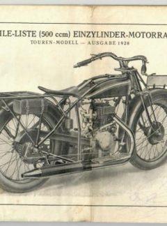 NSU Ersatzteile-Liste (500 ccm) Einzylinder-Motorad