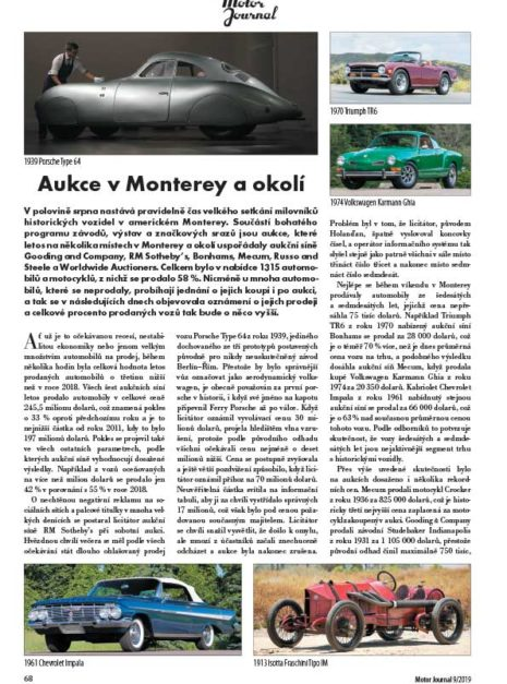 Motor Journal aukce Monterey
