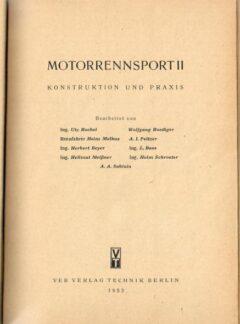 Motorrennsport II, konstruktion und praxis